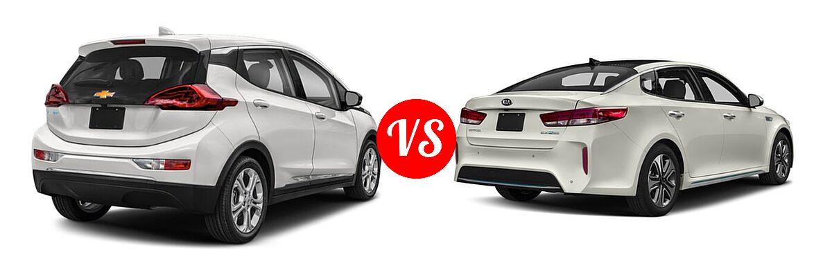 2021 Chevrolet Bolt EV Hatchback Electric LT vs. 2018 Kia Optima Plug-In Hybrid Sedan EX - Rear Right Comparison