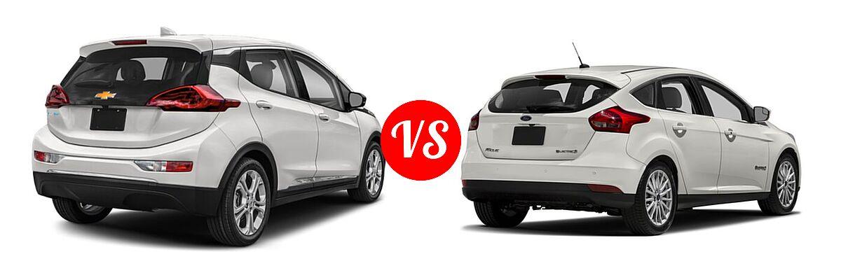 2021 Chevrolet Bolt EV Hatchback Electric LT vs. 2018 Ford Focus Hatchback Electric Electric - Rear Right Comparison