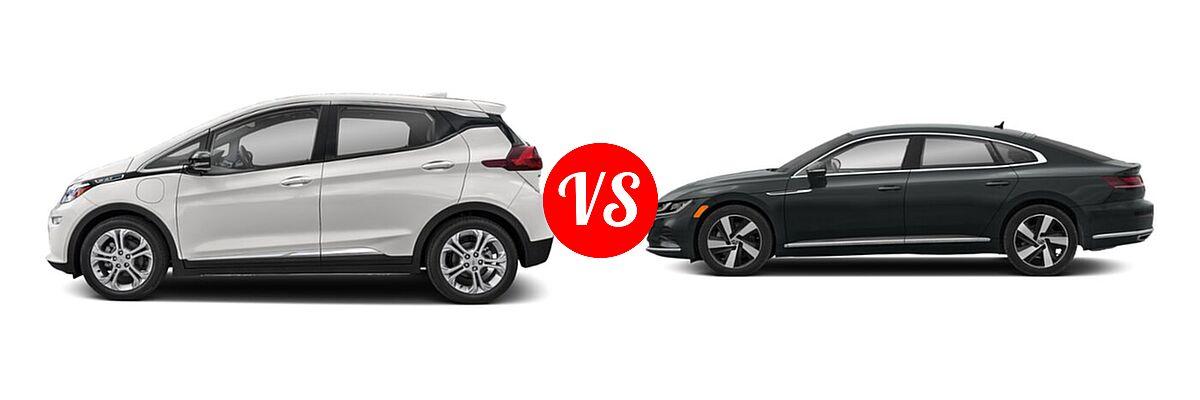 2021 Chevrolet Bolt EV Hatchback Electric LT vs. 2021 Volkswagen Arteon Hatchback SE - Side Comparison