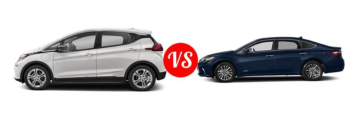 2021 Chevrolet Bolt EV Hatchback Electric LT vs. 2018 Toyota Avalon Hybrid Sedan Hybrid Limited - Side Comparison
