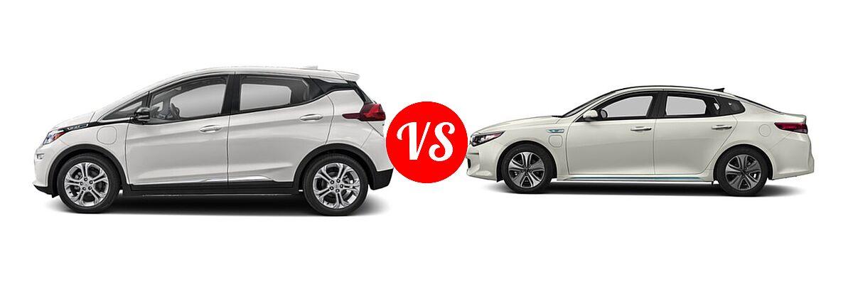 2021 Chevrolet Bolt EV Hatchback Electric LT vs. 2018 Kia Optima Plug-In Hybrid Sedan EX - Side Comparison