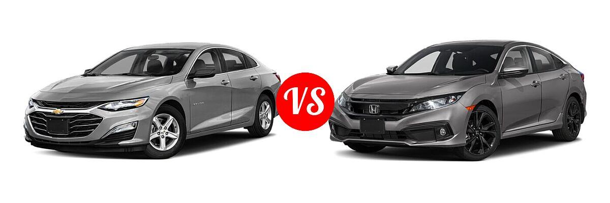 2021 Chevrolet Malibu Sedan LS vs. 2021 Honda Civic Sedan Sport - Front Left Comparison