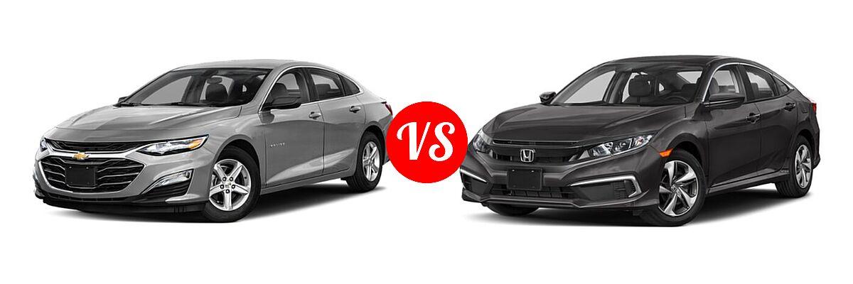 2021 Chevrolet Malibu Sedan LS vs. 2021 Honda Civic Sedan LX - Front Left Comparison