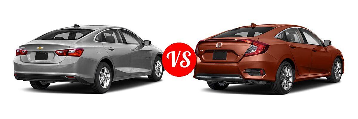 2021 Chevrolet Malibu Sedan LS vs. 2021 Honda Civic Sedan EX-L - Rear Right Comparison