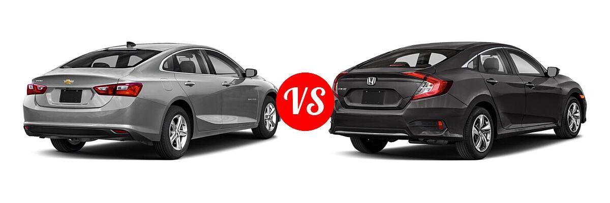 2021 Chevrolet Malibu Sedan LS vs. 2021 Honda Civic Sedan LX - Rear Right Comparison