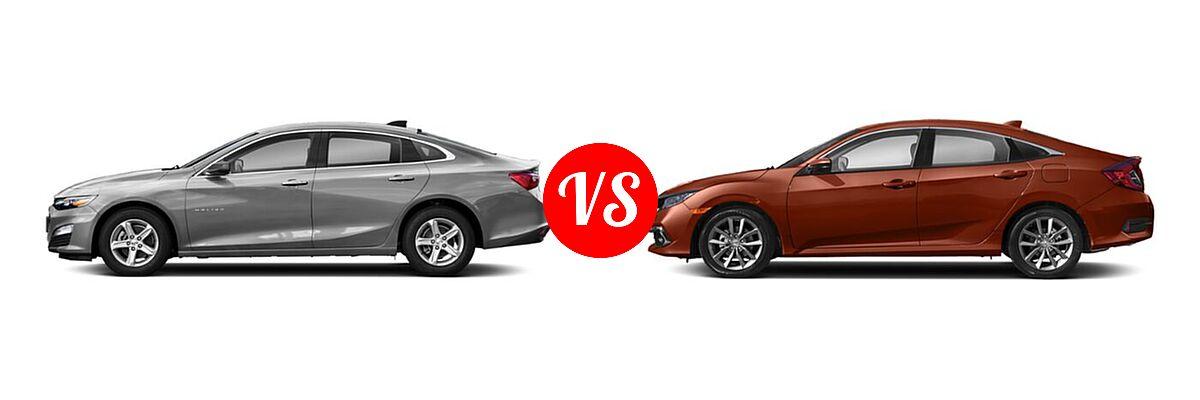 2021 Chevrolet Malibu Sedan LS vs. 2021 Honda Civic Sedan EX-L - Side Comparison