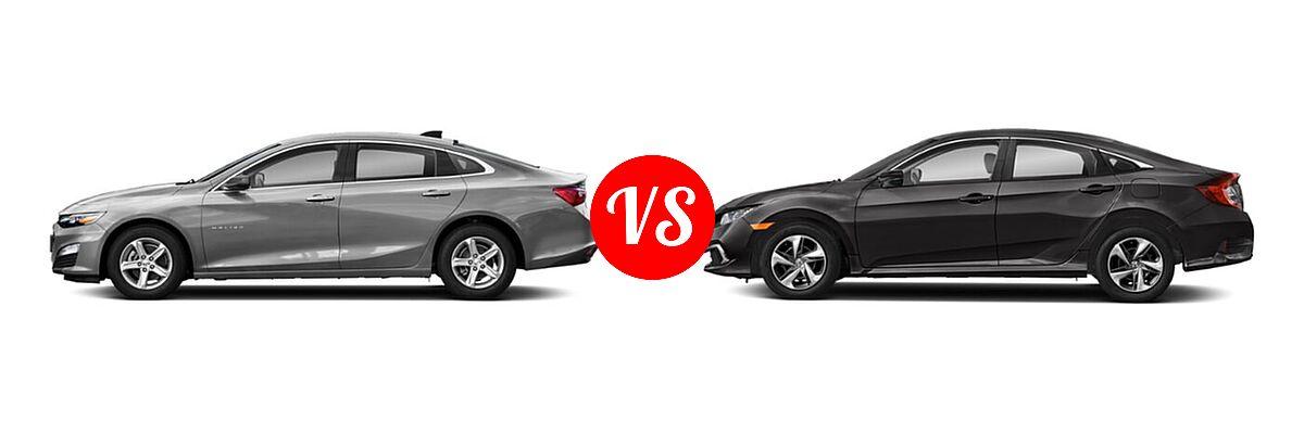 2021 Chevrolet Malibu Sedan LS vs. 2021 Honda Civic Sedan LX - Side Comparison