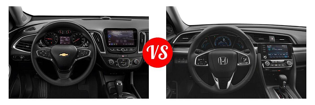 2021 Chevrolet Malibu Sedan LS vs. 2021 Honda Civic Sedan EX-L - Dashboard Comparison