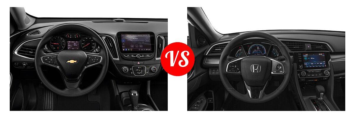 2021 Chevrolet Malibu Sedan LS vs. 2021 Honda Civic Sedan EX - Dashboard Comparison