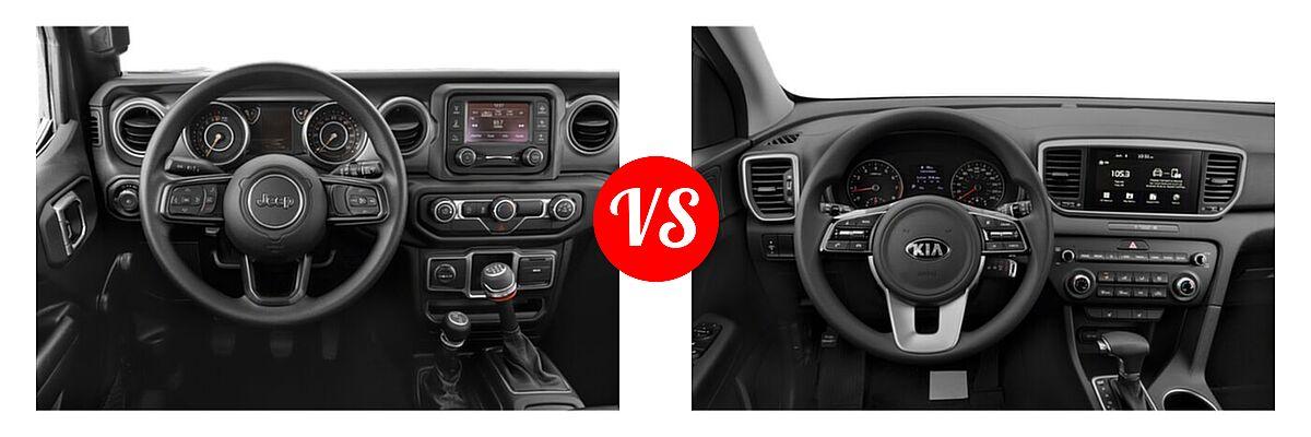 2021 Jeep Wrangler SUV 80th Anniversary / Freedom / Islander / Sport / Sport S / Willys / Willys Sport vs. 2021 Kia Sportage SUV EX / LX / S / SX Turbo - Dashboard Comparison