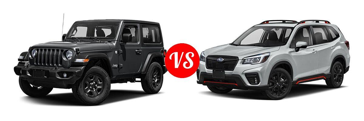 2021 Jeep Wrangler SUV 80th Anniversary / Freedom / Islander / Sport / Sport S / Willys / Willys Sport vs. 2021 Subaru Forester SUV Sport - Front Left Comparison