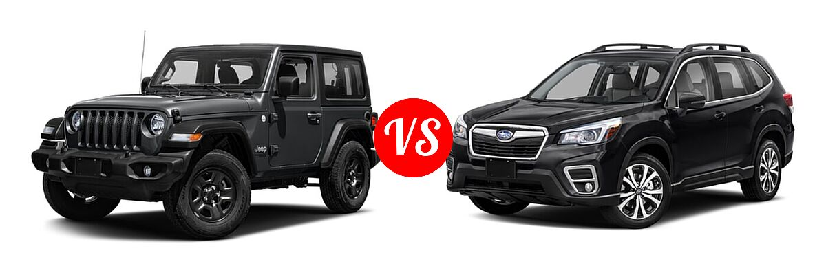 2021 Jeep Wrangler SUV 80th Anniversary / Freedom / Islander / Sport / Sport S / Willys / Willys Sport vs. 2021 Subaru Forester SUV Limited - Front Left Comparison