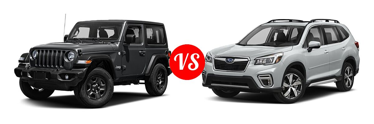 2021 Jeep Wrangler SUV 80th Anniversary / Freedom / Islander / Sport / Sport S / Willys / Willys Sport vs. 2021 Subaru Forester SUV Touring - Front Left Comparison