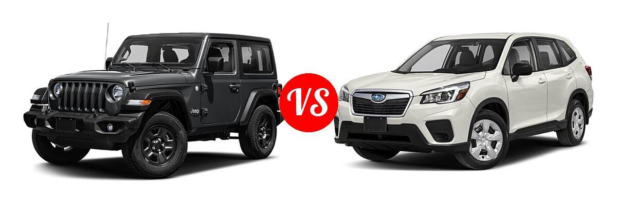 2021 Jeep Wrangler SUV 80th Anniversary / Freedom / Islander / Sport / Sport S / Willys / Willys Sport vs. 2021 Subaru Forester SUV CVT / Premium - Front Left Comparison