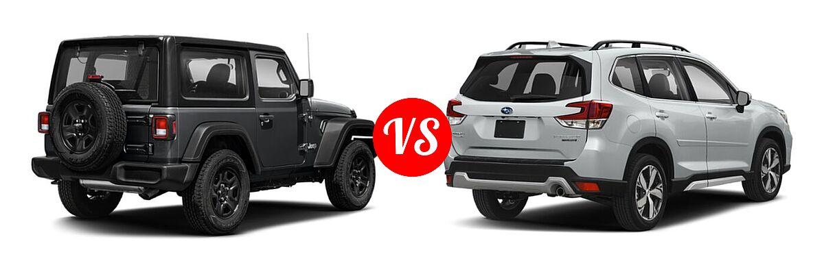 2021 Jeep Wrangler SUV 80th Anniversary / Freedom / Islander / Sport / Sport S / Willys / Willys Sport vs. 2021 Subaru Forester SUV Touring - Rear Right Comparison