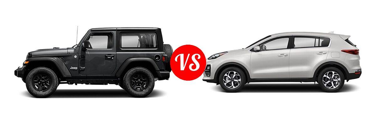 2021 Jeep Wrangler SUV 80th Anniversary / Freedom / Islander / Sport / Sport S / Willys / Willys Sport vs. 2021 Kia Sportage SUV EX / LX / S / SX Turbo - Side Comparison
