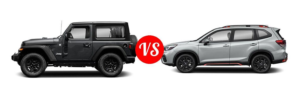 2021 Jeep Wrangler SUV 80th Anniversary / Freedom / Islander / Sport / Sport S / Willys / Willys Sport vs. 2021 Subaru Forester SUV Sport - Side Comparison