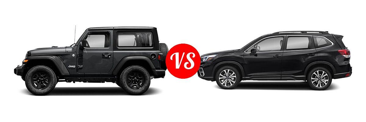 2021 Jeep Wrangler SUV 80th Anniversary / Freedom / Islander / Sport / Sport S / Willys / Willys Sport vs. 2021 Subaru Forester SUV Limited - Side Comparison