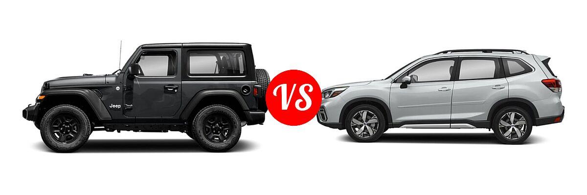 2021 Jeep Wrangler SUV 80th Anniversary / Freedom / Islander / Sport / Sport S / Willys / Willys Sport vs. 2021 Subaru Forester SUV Touring - Side Comparison