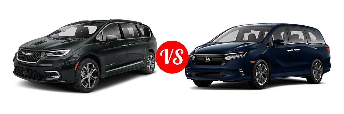 2021 Chrysler Pacifica Minivan Limited / Pinnacle / Touring / Touring L vs. 2021 Honda Odyssey Minivan Elite - Front Left Comparison