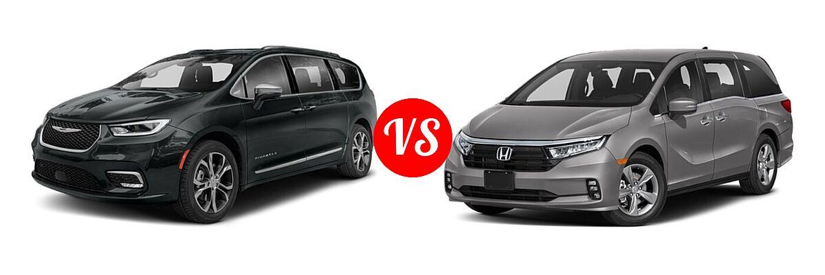 2021 Chrysler Pacifica Minivan Limited / Pinnacle / Touring / Touring L vs. 2021 Honda Odyssey Minivan EX - Front Left Comparison