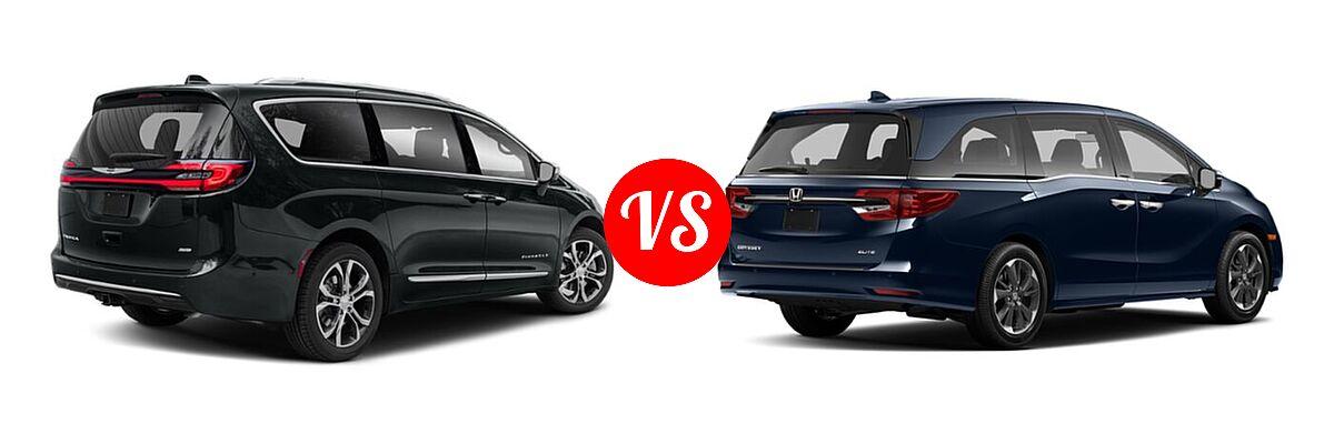2021 Chrysler Pacifica Minivan Limited / Pinnacle / Touring / Touring L vs. 2021 Honda Odyssey Minivan Elite - Rear Right Comparison