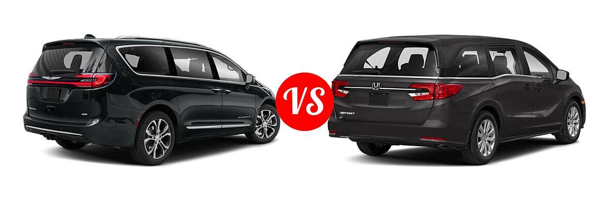 2021 Chrysler Pacifica Minivan Limited / Pinnacle / Touring / Touring L vs. 2021 Honda Odyssey Minivan LX - Rear Right Comparison