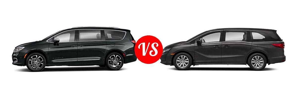 2021 Chrysler Pacifica Minivan Limited / Pinnacle / Touring / Touring L vs. 2021 Honda Odyssey Minivan LX - Side Comparison
