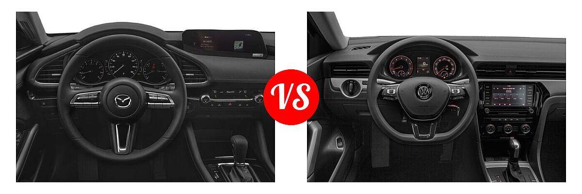 2021 Mazda 2 Sedan Preferred vs. 2021 Volkswagen Passat Sedan 2.0T S / 2.0T SE - Dashboard Comparison