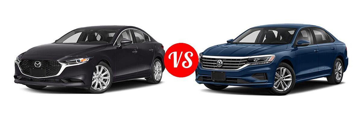 2021 Mazda 2 Sedan Preferred vs. 2021 Volkswagen Passat Sedan 2.0T R-Line - Front Left Comparison