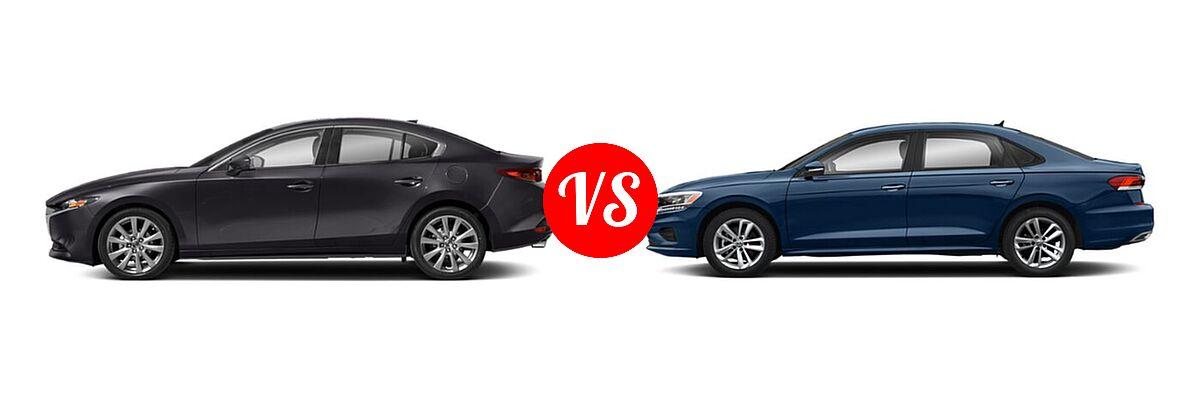 2021 Mazda 2 Sedan Preferred vs. 2021 Volkswagen Passat Sedan 2.0T S / 2.0T SE - Side Comparison