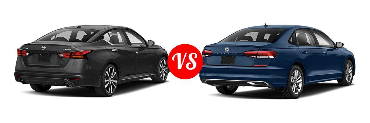 2021 Nissan Altima Sedan 2.5 Platinum / 2.5 SL / 2.5 SV vs. 2021 Volkswagen Passat Sedan 2.0T R-Line - Rear Right Comparison