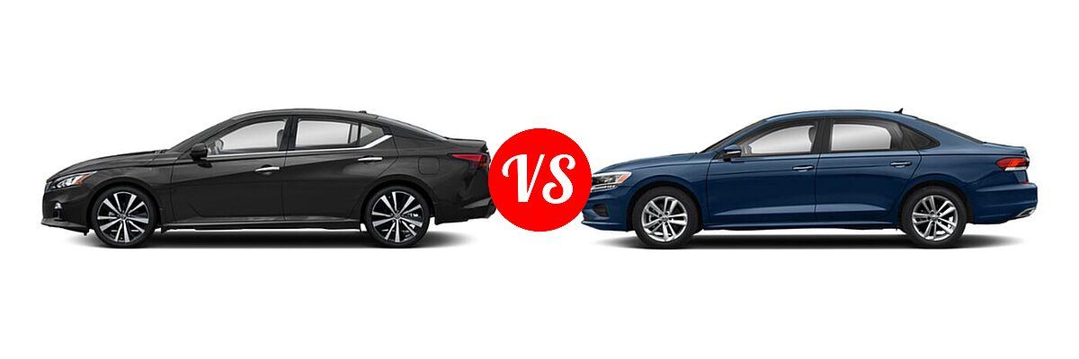 2021 Nissan Altima Sedan 2.5 Platinum / 2.5 SL / 2.5 SV vs. 2021 Volkswagen Passat Sedan 2.0T R-Line - Side Comparison