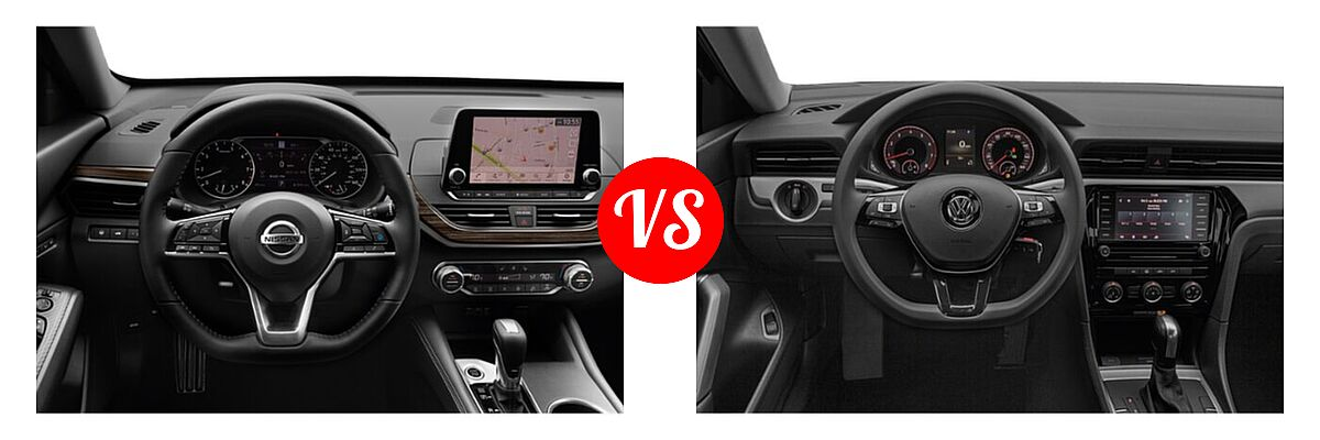 2021 Nissan Altima Sedan 2.5 Platinum / 2.5 SL / 2.5 SV vs. 2021 Volkswagen Passat Sedan 2.0T R-Line - Dashboard Comparison