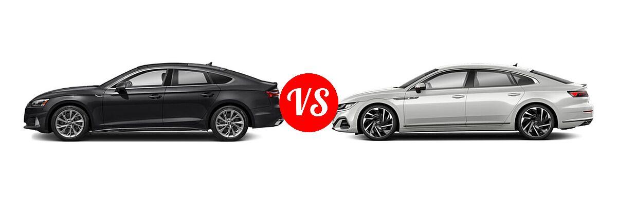 2021 Audi A5 Hatchback Premium / Premium Plus / Prestige / S line Premium Plus / S line Prestige vs. 2021 Volkswagen Arteon Hatchback SEL Premium R-Line / SEL R-Line - Side Comparison