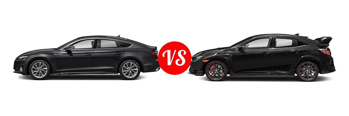 2021 Audi A5 Hatchback Premium / Premium Plus / Prestige / S line Premium Plus / S line Prestige vs. 2021 Honda Civic Type R Hatchback Touring - Side Comparison