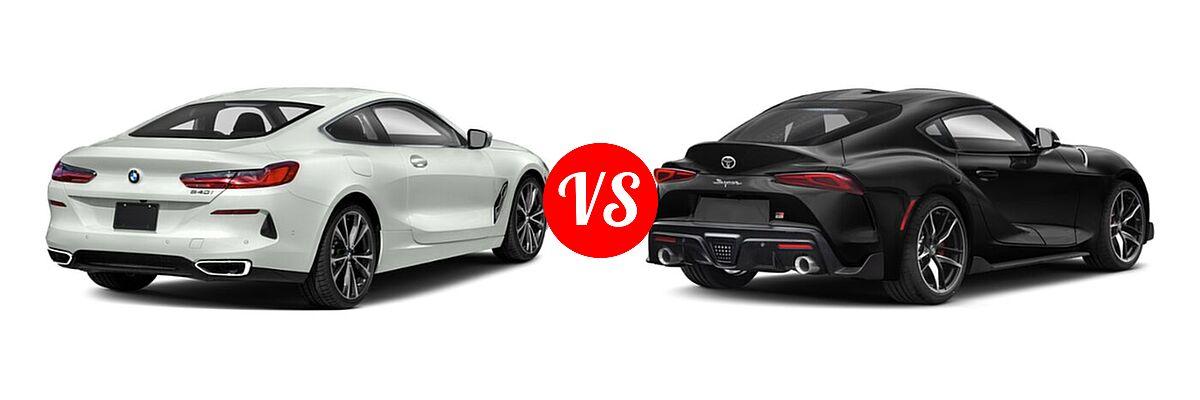 2021 BMW 8 Series Coupe 840i vs. 2021 Toyota GR Supra Coupe 2.0 / 3.0 / 3.0 Premium / A91 Edition - Rear Right Comparison