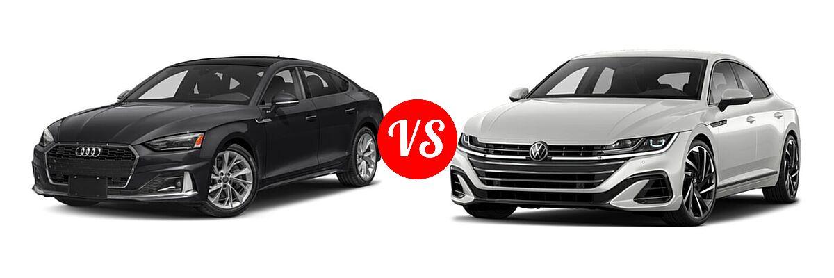 2021 Audi A5 Hatchback Premium / Premium Plus / Prestige / S line Premium Plus / S line Prestige vs. 2021 Volkswagen Arteon Hatchback SE / SEL Premium R-Line / SEL R-Line - Front Left Comparison