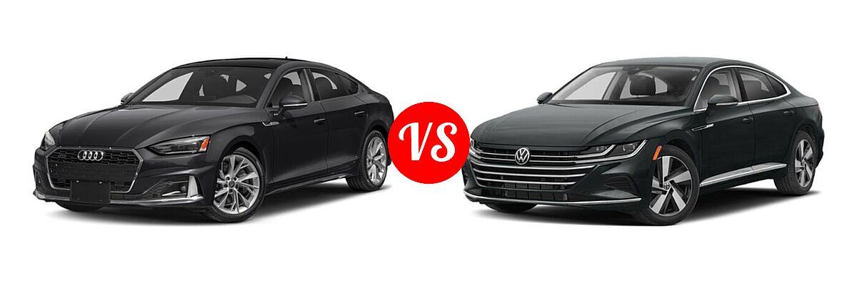 2021 Audi A5 Hatchback Premium / Premium Plus / Prestige / S line Premium Plus / S line Prestige vs. 2021 Volkswagen Arteon Hatchback SE - Front Left Comparison