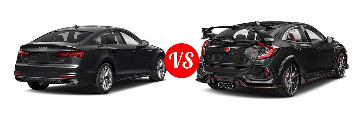2021 Audi A5 Hatchback Premium / Premium Plus / Prestige / S line Premium Plus / S line Prestige vs. 2021 Honda Civic Type R Hatchback Touring - Rear Right Comparison