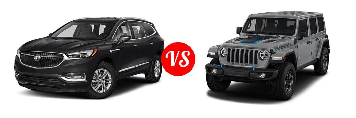 2021 Buick Enclave SUV Essence / Preferred / Premium vs. 2021 Jeep Wrangler Unlimited SUV PHEV Unlimited Rubicon / Unlimited Sahara / Unlimited Sahara High Altitude - Front Left Comparison