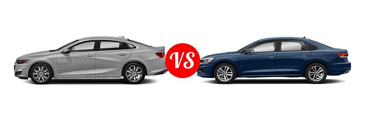 2021 Chevrolet Malibu Sedan RS vs. 2021 Volkswagen Passat Sedan 2.0T S / 2.0T SE - Side Comparison