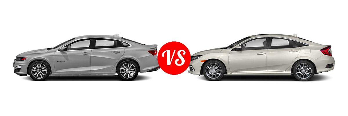 2021 Chevrolet Malibu Sedan RS vs. 2021 Honda Civic Sedan EX - Side Comparison