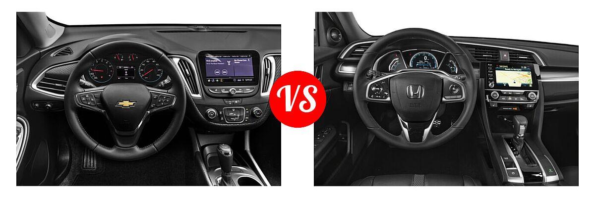 2021 Chevrolet Malibu Sedan RS vs. 2021 Honda Civic Sedan Touring - Dashboard Comparison