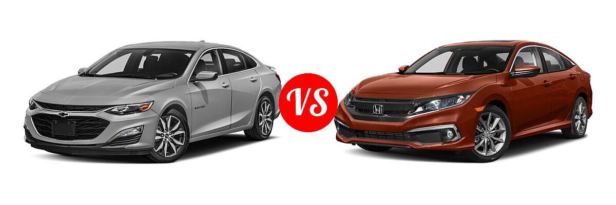 2021 Chevrolet Malibu Sedan RS vs. 2021 Honda Civic Sedan EX-L - Front Left Comparison
