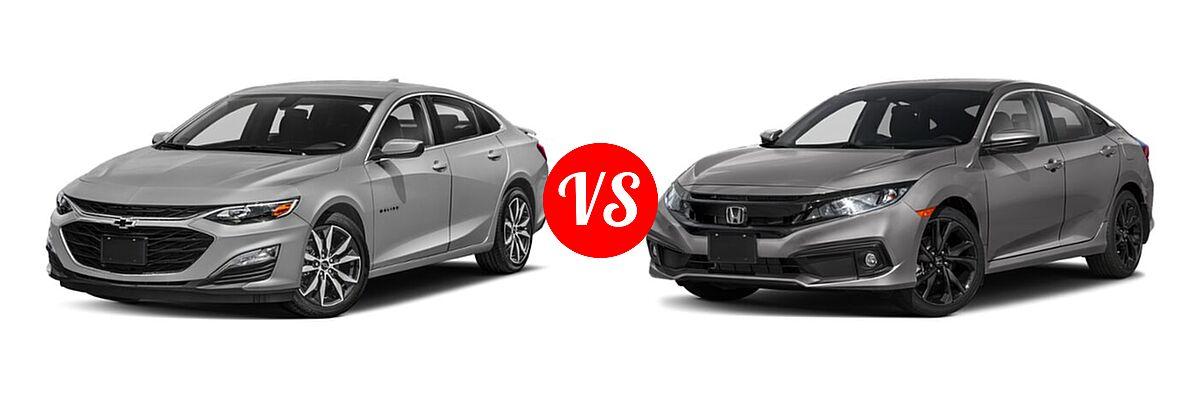 2021 Chevrolet Malibu Sedan RS vs. 2021 Honda Civic Sedan Sport - Front Left Comparison