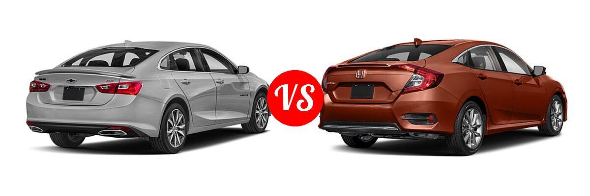 2021 Chevrolet Malibu Sedan RS vs. 2021 Honda Civic Sedan EX-L - Rear Right Comparison