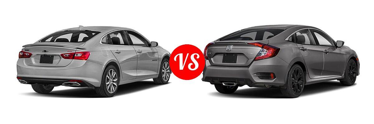 2021 Chevrolet Malibu Sedan RS vs. 2021 Honda Civic Sedan Sport - Rear Right Comparison