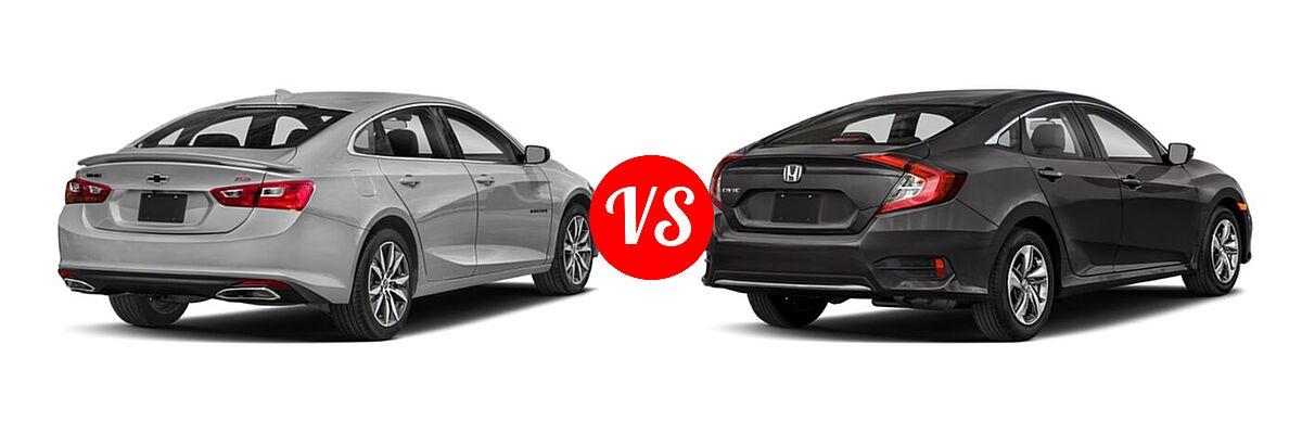 2021 Chevrolet Malibu Sedan RS vs. 2021 Honda Civic Sedan LX - Rear Right Comparison