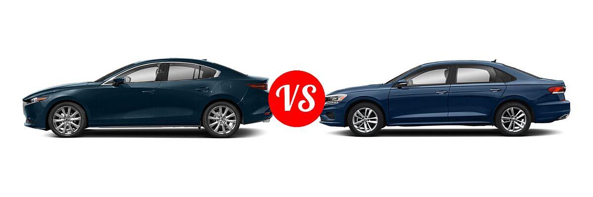 2021 Mazda 2 Sedan Premium vs. 2021 Volkswagen Passat Sedan 2.0T R-Line - Side Comparison